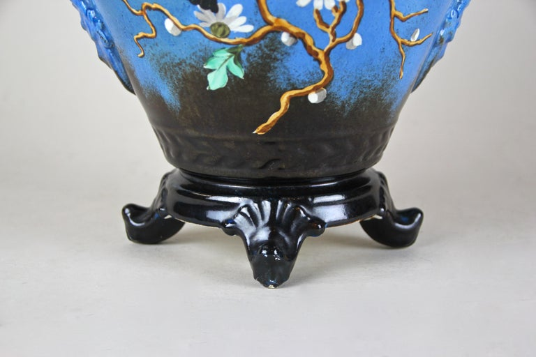 French Majolica Cachepot Art Nouveau Hand Painted, France, circa 1915 For Sale