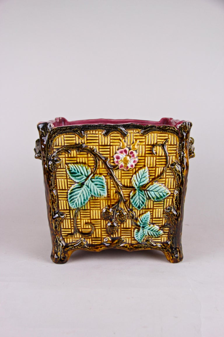 Hand-Painted Majolica Cachepot or Planter, France, circa 1910 For Sale