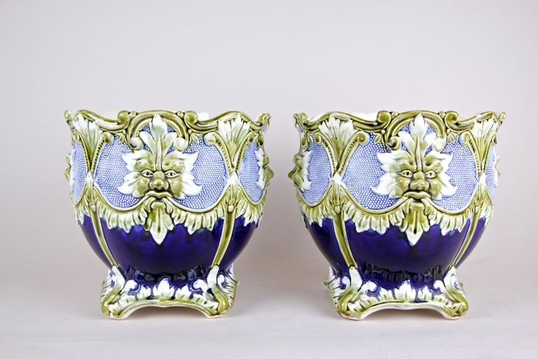 French Majolica Cachepot Set of Three by B. De Bruyne Art Nouveau, France, circa 1900 For Sale