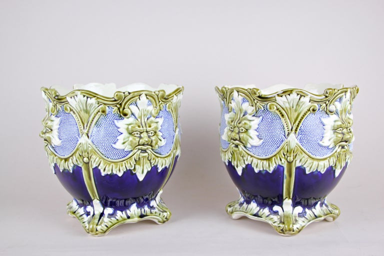 Hand-Painted Majolica Cachepot Set of Three by B. De Bruyne Art Nouveau, France, circa 1900 For Sale