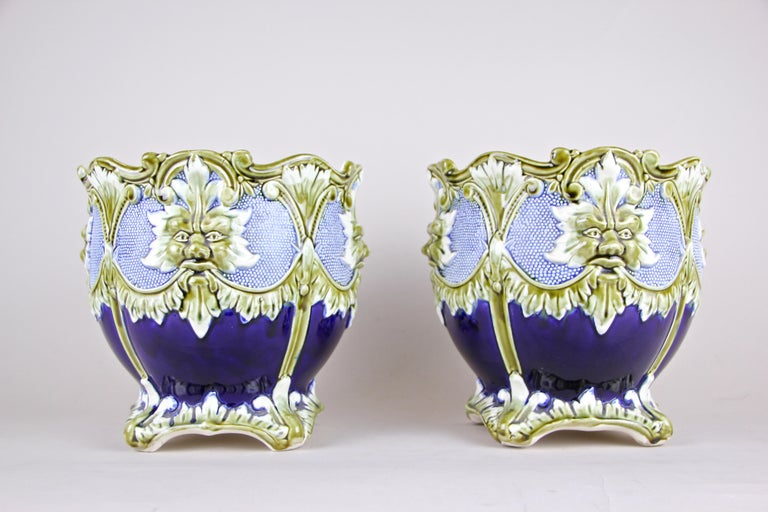 Majolica Cachepot Set of Three by B. De Bruyne Art Nouveau, France, circa 1900 In Good Condition For Sale In Lichtenberg, AT