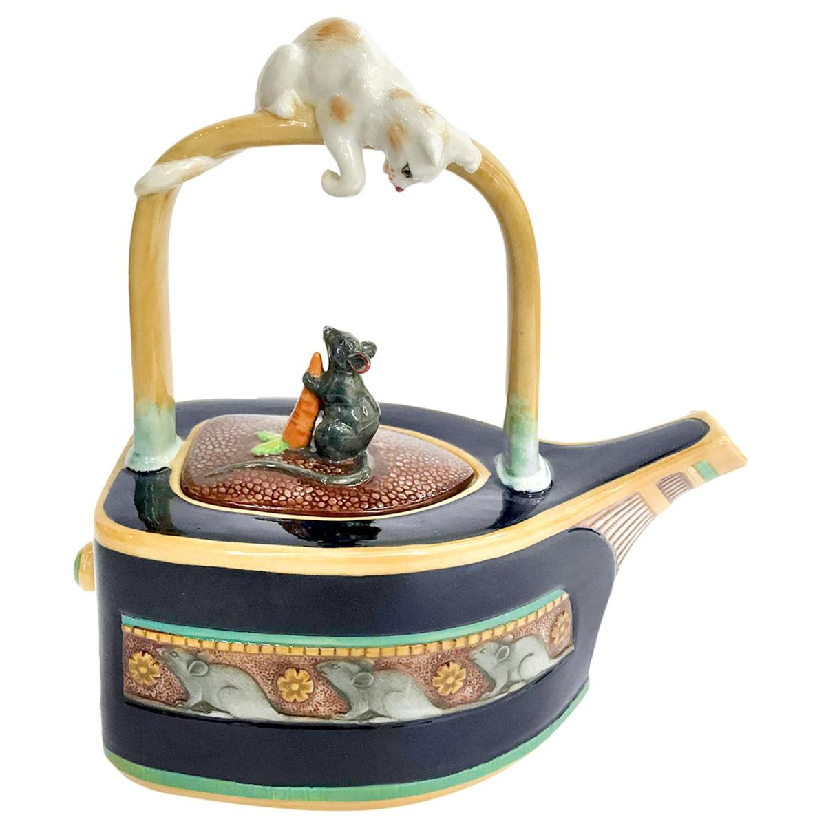 """Majolica """"Cat & Mouse"""" Teapot by Minton"""