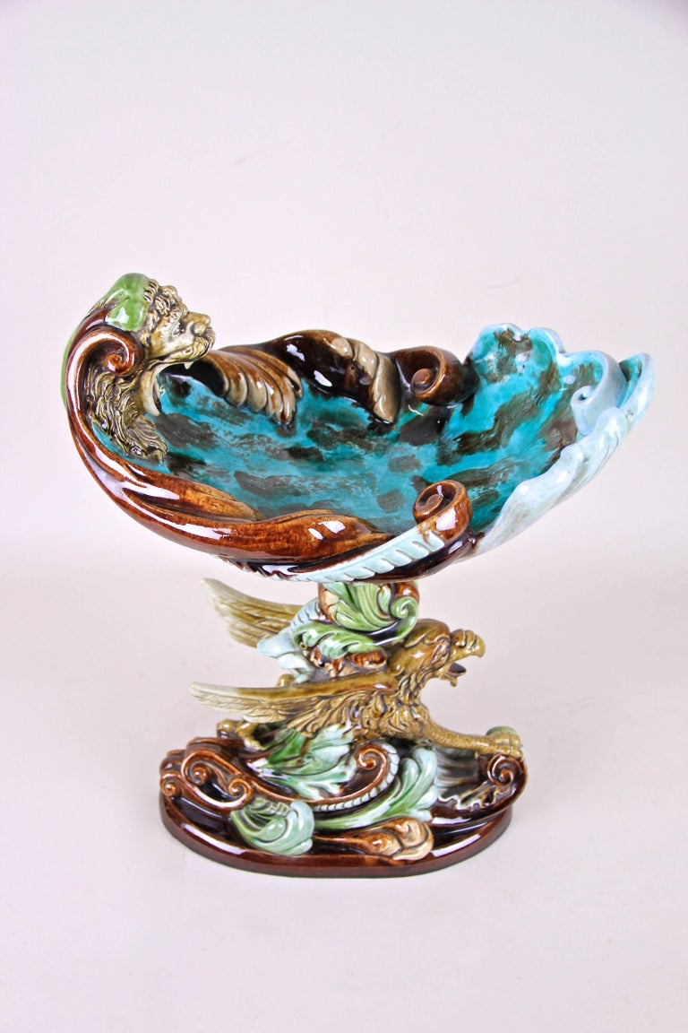 We are very proud to present to you this breathtaking large Majolica Centerpiece by Wilhelm Schiller & Son, the famous majolica manufactory out of Bohemia. An exceptional masterpiece of early Art Nouveau majolica art around 1890. Beautifully