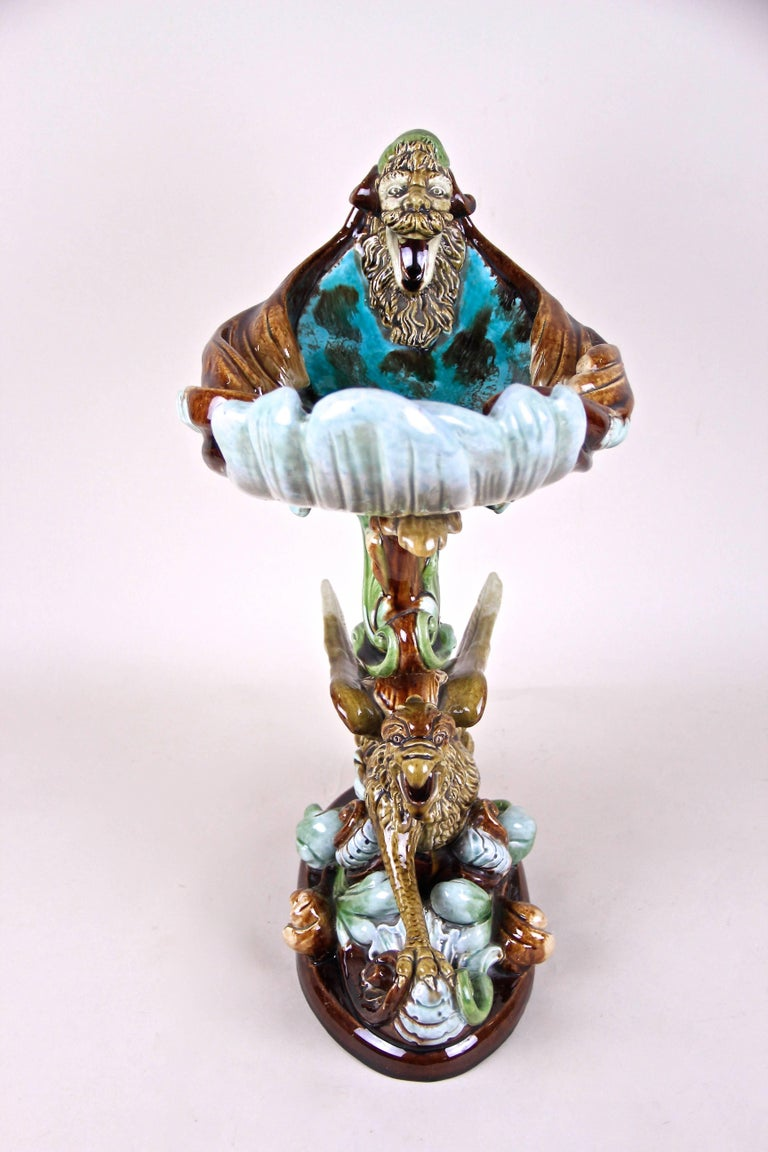 Hand-Painted Majolica Centerpiece by Wilhelm Schiller & Son, Bohemia circa 1890 For Sale