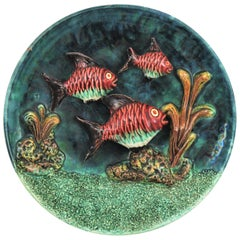 Majolica Ceramic Trompe L'oeil Deep See Landscape Wall PLate