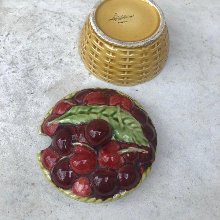 French Majolica Cherries Basket Sarreguemines, circa 1920 For Sale