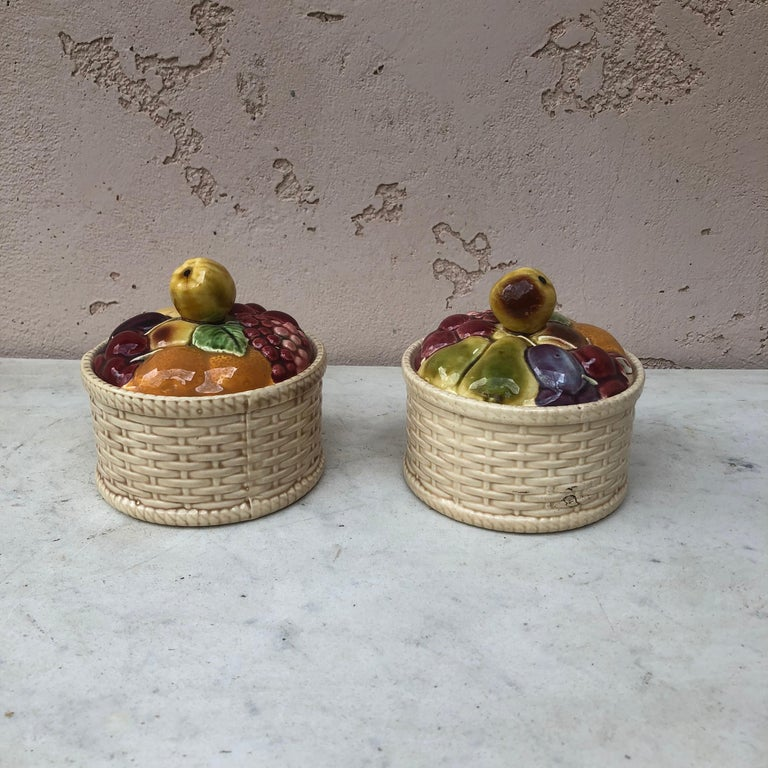 Majolica Cherries Basket Sarreguemines, circa 1920 In Good Condition For Sale In The Hills, TX