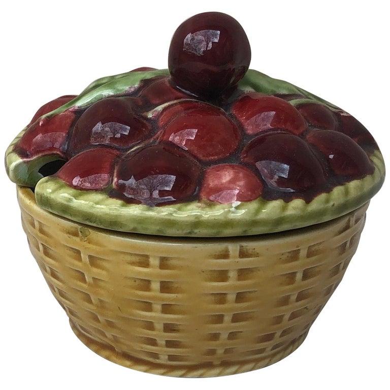 Majolica Cherries Basket Sarreguemines, circa 1920 For Sale