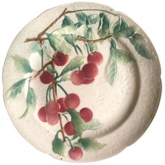 Majolica Cherries Plate Keller & Guerin Saint Clément