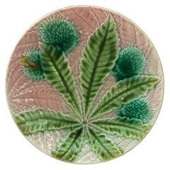 Majolica Chestnut Leaves Plate Salins, circa 1880