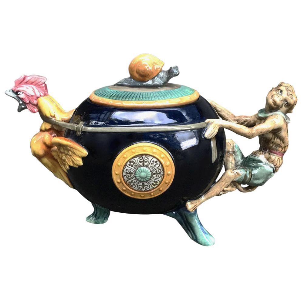 """Majolica """"Cockerel & Monkey"""" Teapot by Minton"""