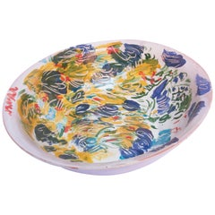 Majolica Colorful Ceramic Bowl Mid-Century Modern Mexican Signed on the Bottom
