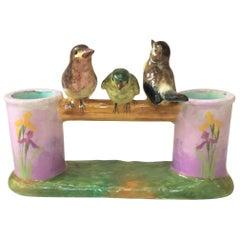 Majolica Double Birds Vase with Iris Jerome Massier Fils, circa 1900