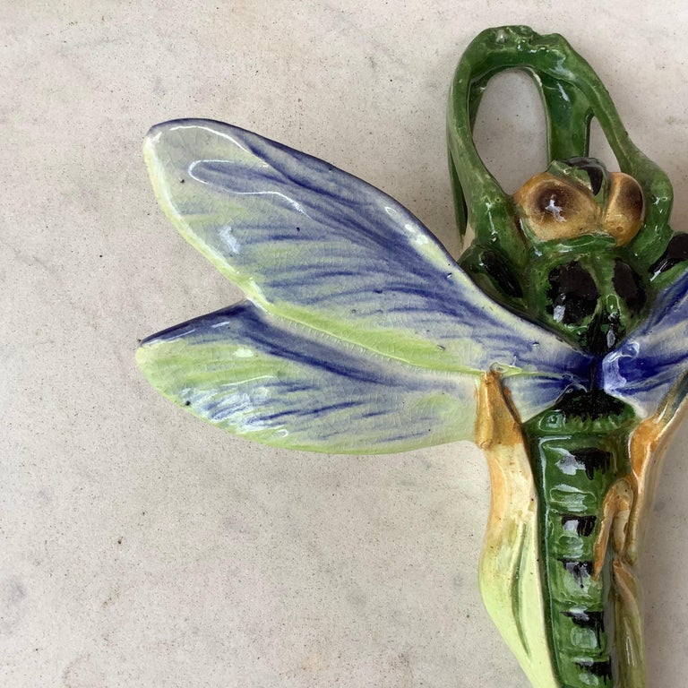 Majolica dragonfly wall pocket by Fives Lille, circa 1900.