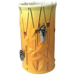 Majolica Drum Vase with Cicadas Sicard, circa 1950