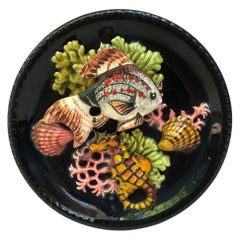 Majolica Fish Sealife Platter Vallauris, circa 1950