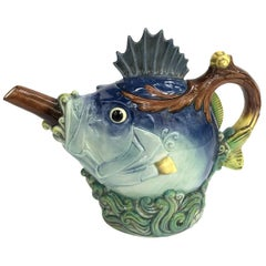 "Majolica ""Fish Teapot by Minton limited edition"