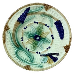 Majolica Flowers and Butterfly Plate Wasmuel, circa 1880