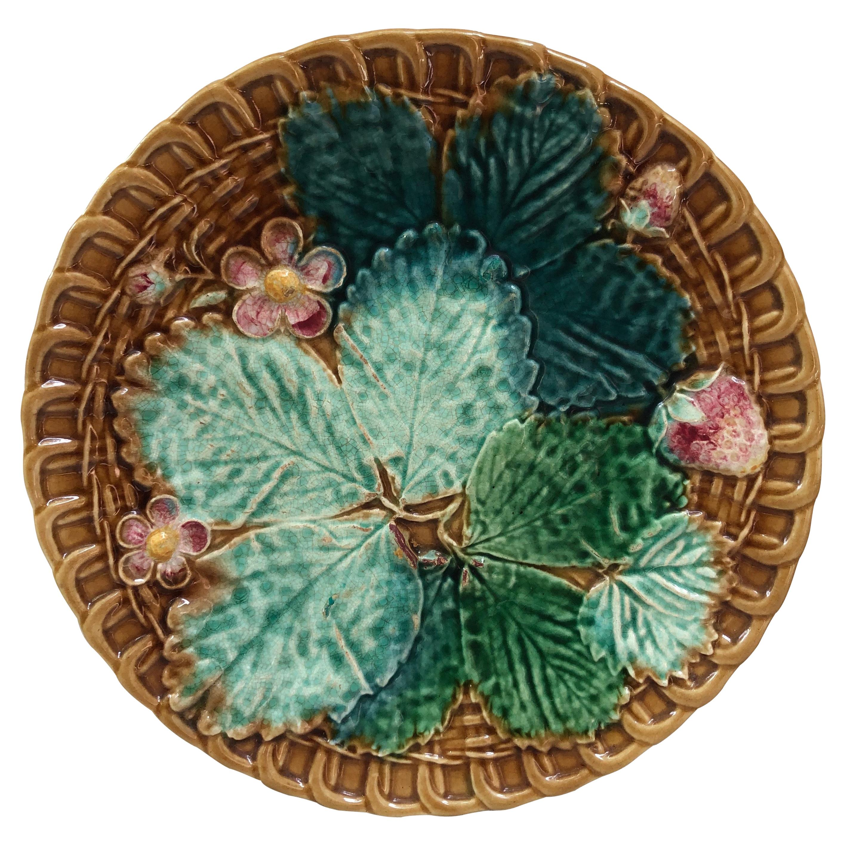 Majolica Flowers and Leaves Plate Clairefontaine, circa 1890