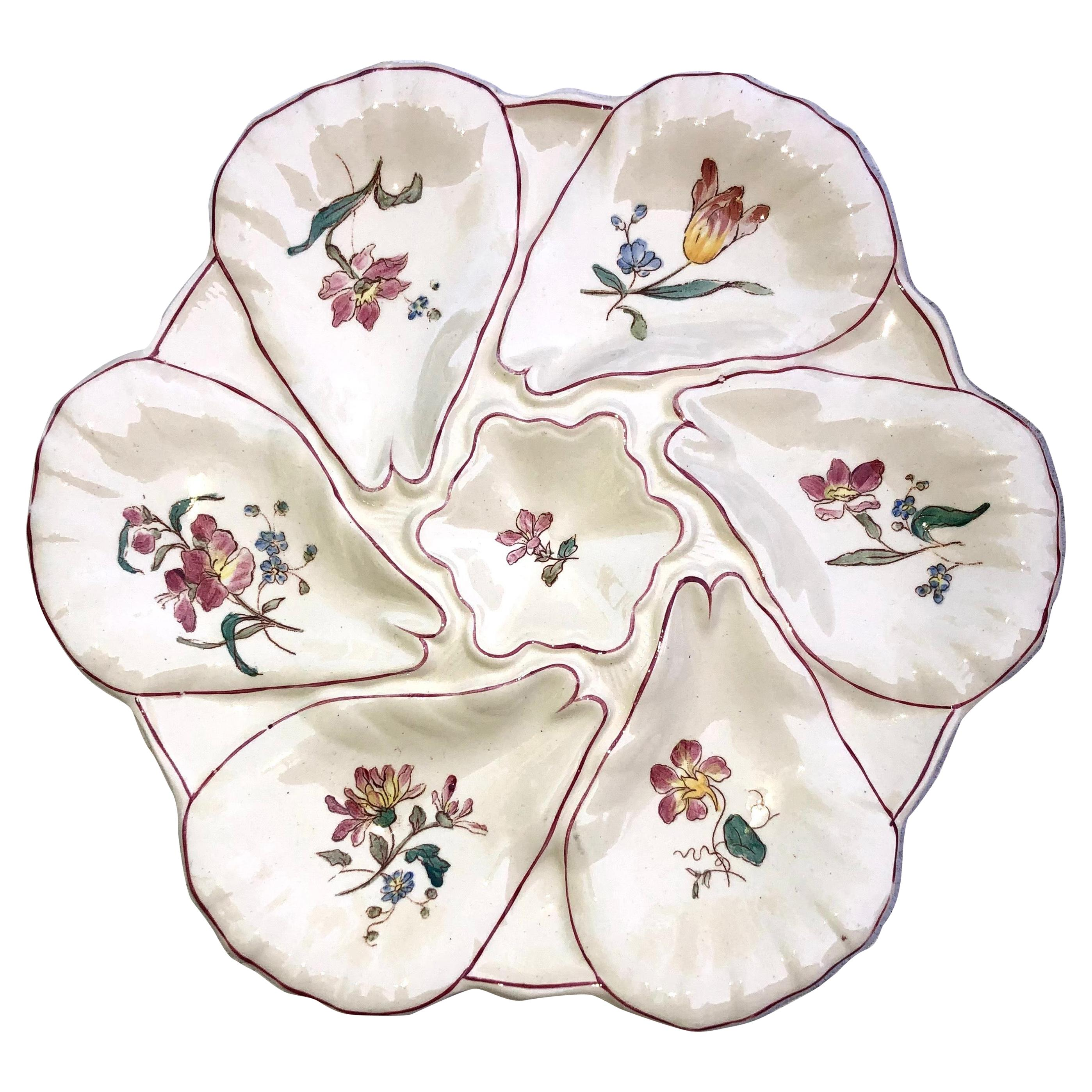 Majolica Flowers Oyster Plate Longchamp, circa 1900