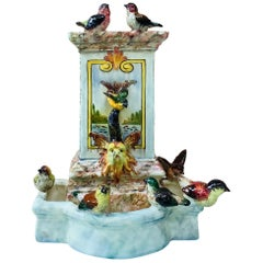 Majolica Fountain with Birds Delphin Massier, circa 1880