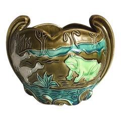 Majolica Frog Cache Pot Fives Lille Circa 1890