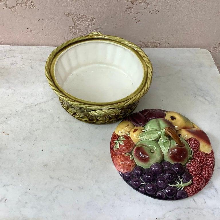 French Majolica Fruits Basket Sarreguemines, circa 1920 For Sale