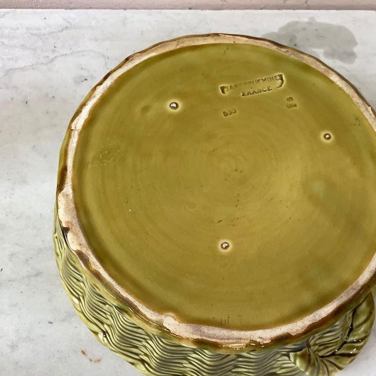 Early 20th Century Majolica Fruits Basket Sarreguemines, circa 1920 For Sale