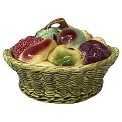 Majolica Fruits Basket Sarreguemines, circa 1920