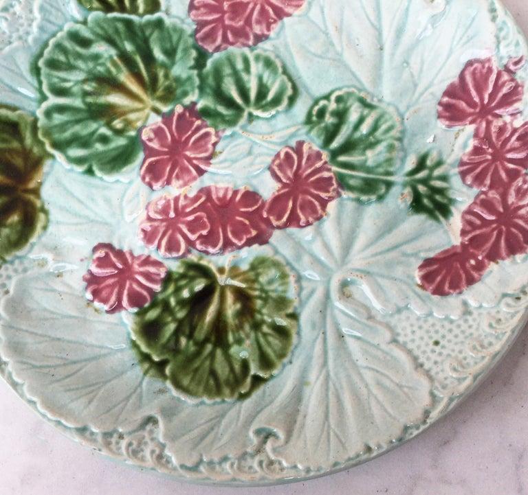 French Provincial Majolica Geranium Plate Salins, circa 1890 For Sale