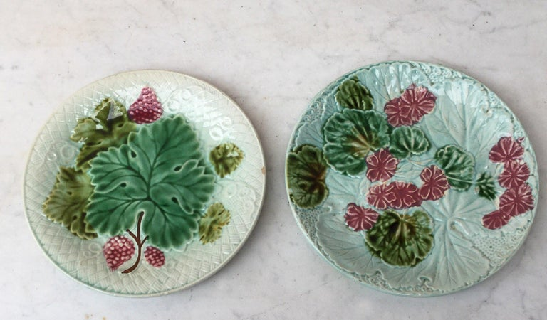 Majolica Geranium Plate Salins, circa 1890 In Good Condition For Sale In The Hills, TX