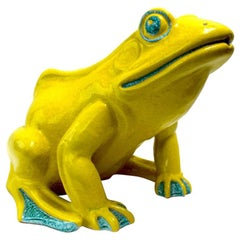 Majolica Glaze Garden Frog Fountain Made in Italy