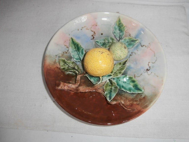 Majolica Grapefruit Wall Plate Fives Lille, circa 1880 In Good Condition For Sale In The Hills, TX