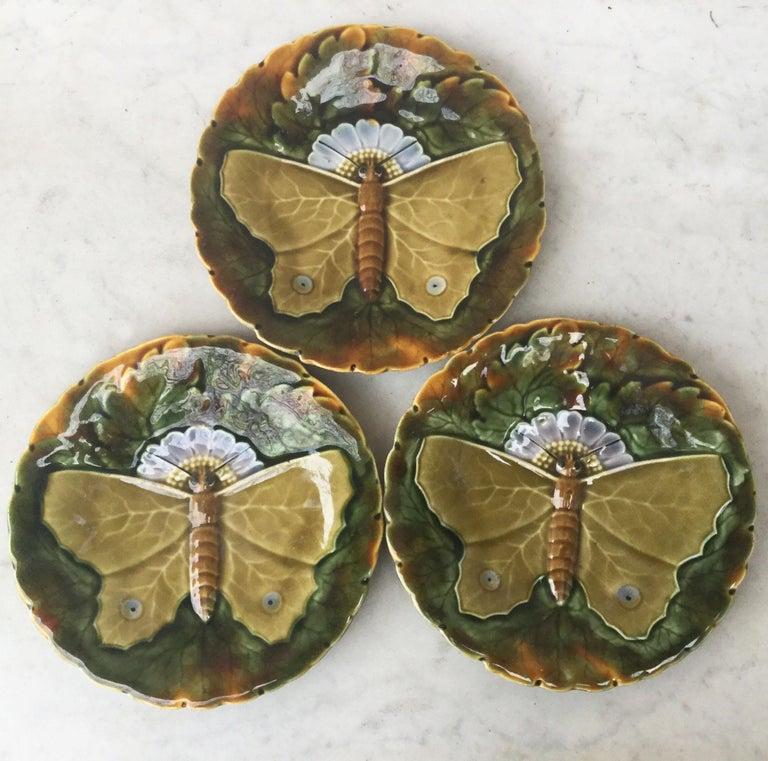 Austrian Majolica Gray Butterfly Plate Josef Steidl Znaim, circa 1890 For Sale