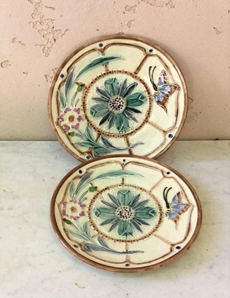 Ceramic Majolica Gray Butterfly Plate Josef Steidl Znaim, circa 1890 For Sale