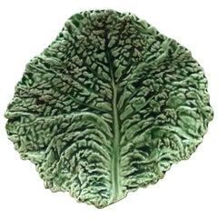 Majolica Green Cabbage Leaf Platter Sarreguemines, circa 1930
