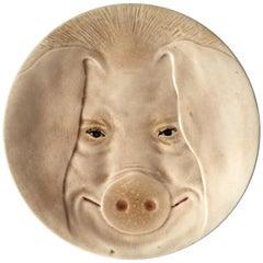 Majolica Head Pig Plate Orchies, circa 1900