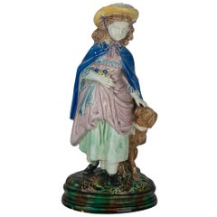 Holdcroft Majolica Figure of a Little Girl and Dog, English, ca. 1880--12.5 ins.