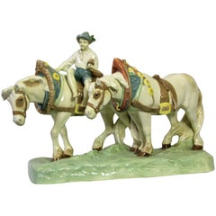 Majolica Horse Sculpture by Royal Dux, Hand Painted, Bohemia, circa 1910