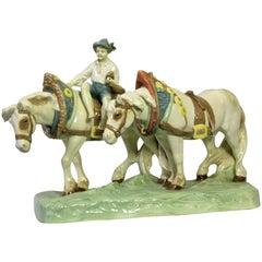 Majolica Horse Sculpture by Royal Dux, Hand Painted, Bohemia, circa 1910
