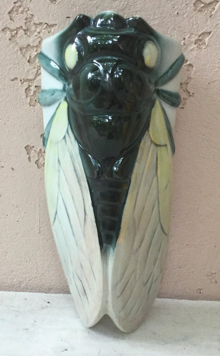 Ceramic Majolica Insect Wall Pocket Fives Lille, circa 1890 For Sale