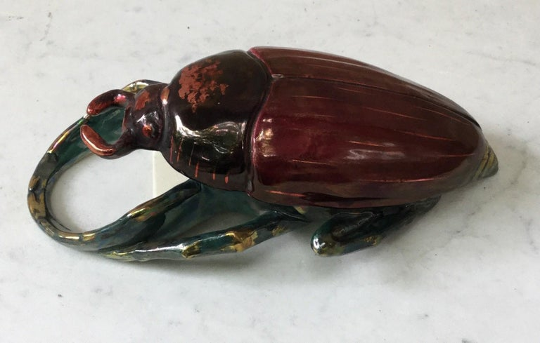 Majolica insect wall pocket Fives Lille signed, circa 1890.