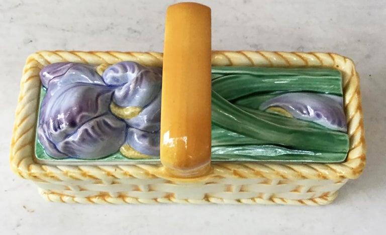 Art Nouveau Majolica Iris Basket Sarreguemines, circa 1920 For Sale