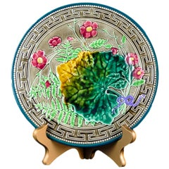 Majolica Leaf, Fern and Flowers Plate with Greek Key Boarder, Signed Choisy-le-R