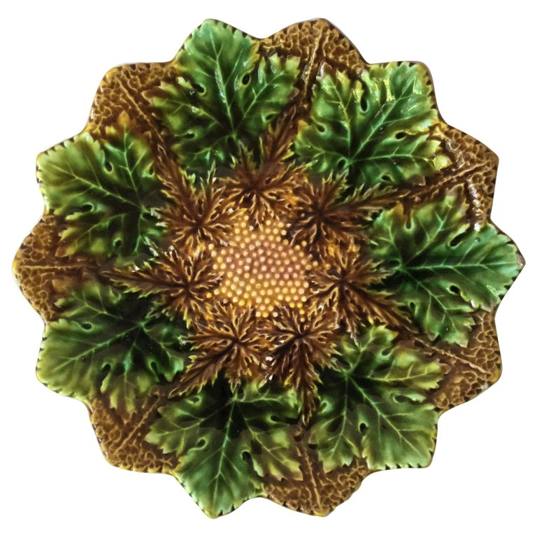 Majolica Leaves Plate Villeroy and Boch, circa 1900 For Sale
