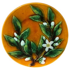 Majolica Lemon Leaves Plate Perret Gentil Menton, circa 1890