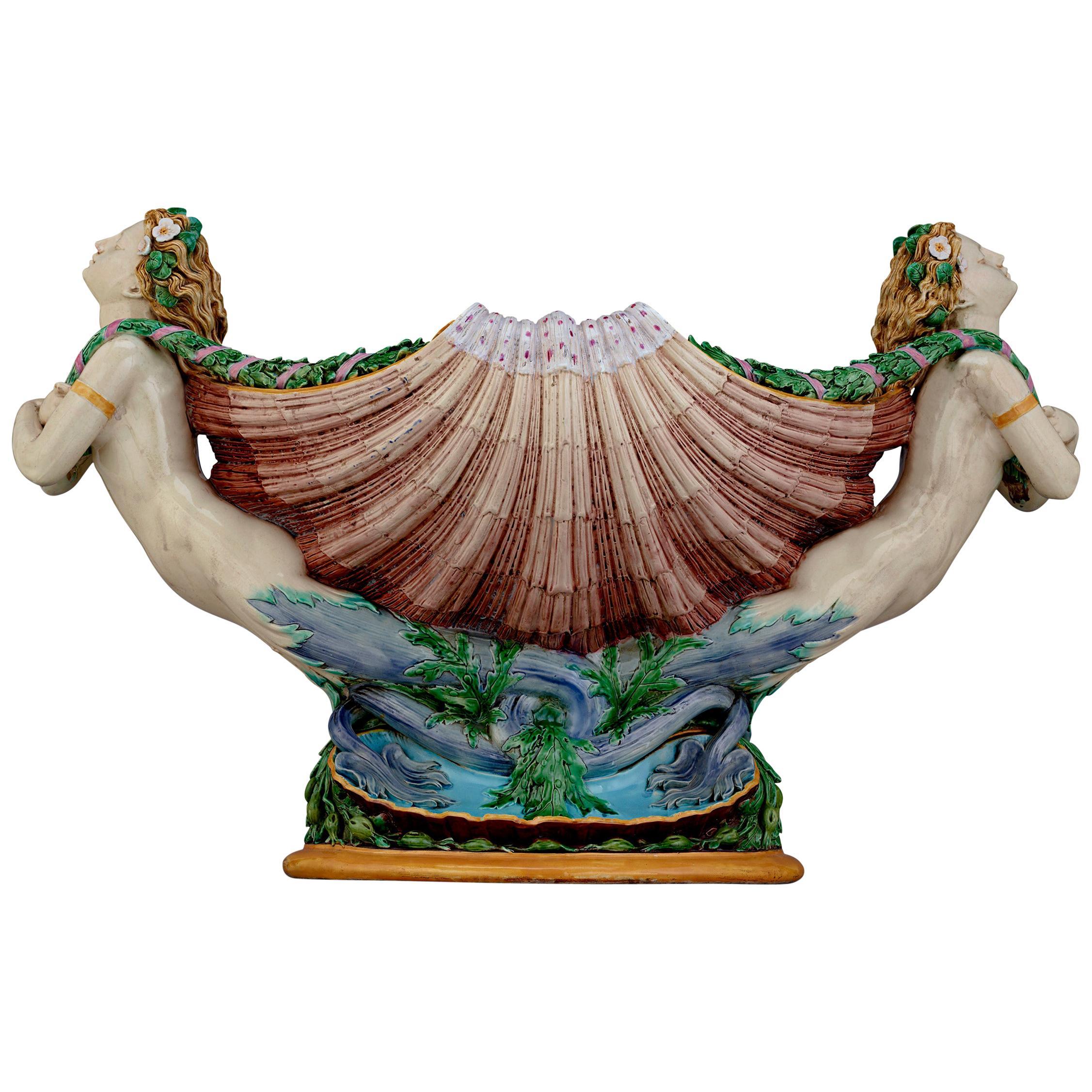 Majolica Mermaids Jardinière by Minton