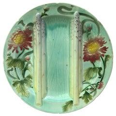 Majolica Mums Asparagus Plate Saint Clement, circa 1900