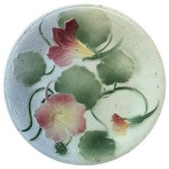 Majolica Nasturtium Plate Saint Clement, circa 1900