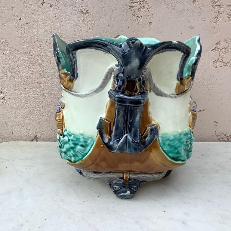 French Majolica Nautical Planter Onnaing, circa 1880 For Sale